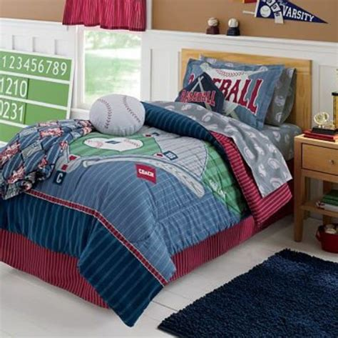 baseball themed bedding sports boys baseball field themed comforter set 6pc 1494