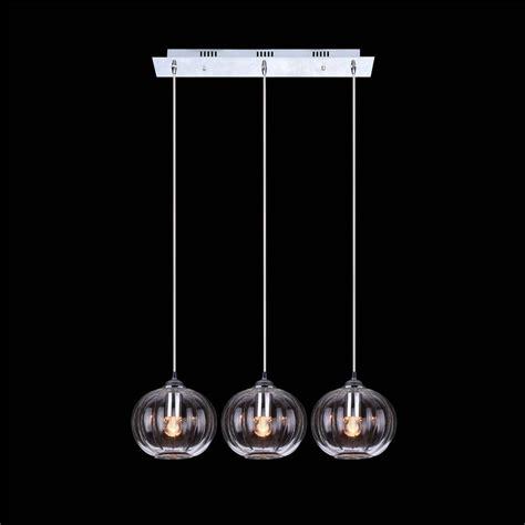 tres luces claro bola de cristal lampara colgante