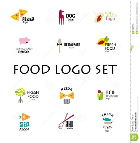 cuisine company vector set of restaurant logo design tempaltes stock