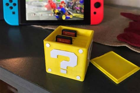printed mario question block nintendo switch card