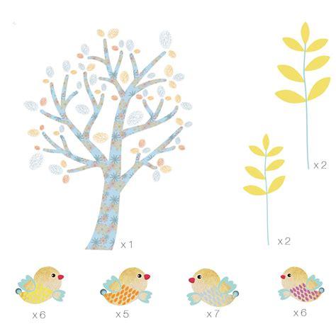 chambre bébé arbre stickers mini arbre bleu aux oiseaux chambre bebe