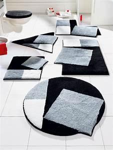 grund tapis de bain noir et blanc formes originales un With tapis blanc et noir