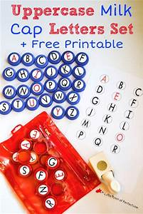 diy uppercase milk cap letter set and free printable With letter manipulatives
