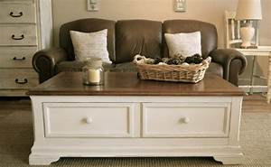 furniture white wooden rectangle coffee table with drawer With white and dark brown coffee table