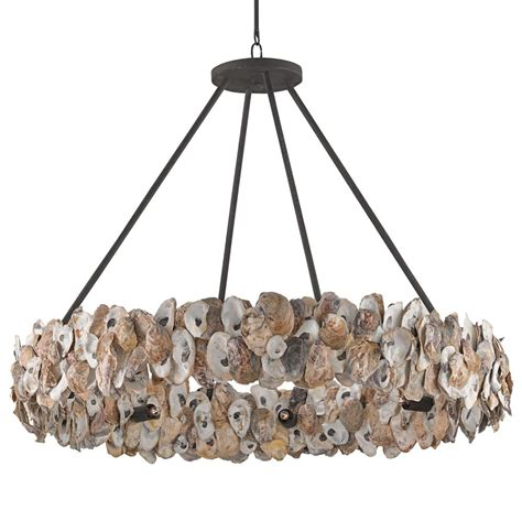 modern light fixtures oyster shell coastal ring chandelier kathy kuo home