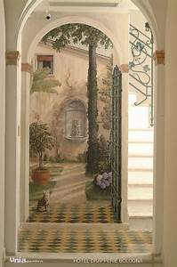 trompe l39oeil mural featuring several archways leading to With decor mural trompe l oeil