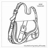 Drawing Bags Designer Bag Sketch Handbags Dior Handbag Chanel Illustration Barbie Purse Borsa Disegno Cad Gaucho Getdrawings Miniatures Drawings Pattern sketch template