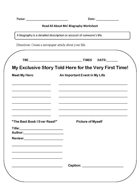biography worksheets for 3rd grade worksheet exle