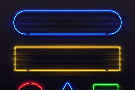 realistic neon frame shiny banner  electric border