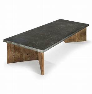 vedel industrial loft zinc wood rectangle coffee table With parquet top