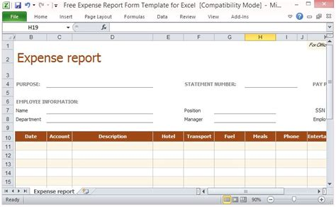 expense report template excel free expense report form template for excel