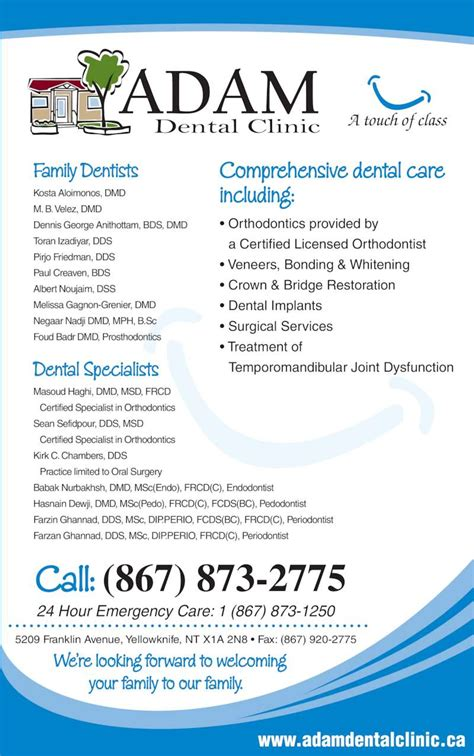 adam dental clinic opening hours  franklin ave