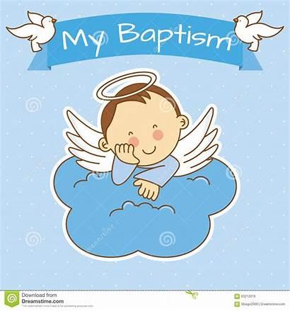 Baptism Christening Boy Clipart Angel Background Invitation