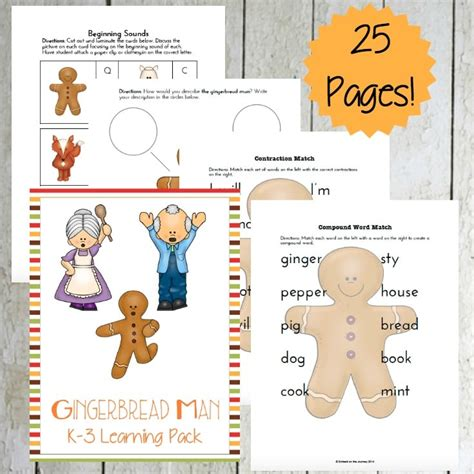 gingerbread man learning pack