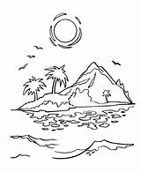 Coloring Island Tropical Sunset Printable Sheets Drawing Sunrise Az Pirate Cartoon Simple Pirates Colouring Islands Adult Sand Caribbean Drawings Ocean sketch template