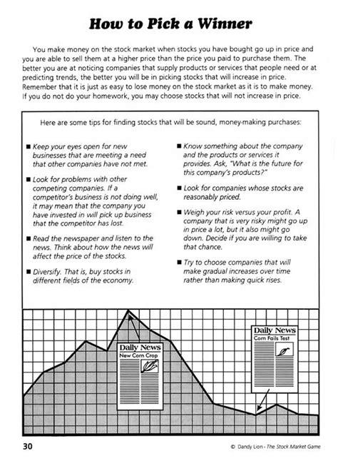 reading the stock market worksheet worksheets for all