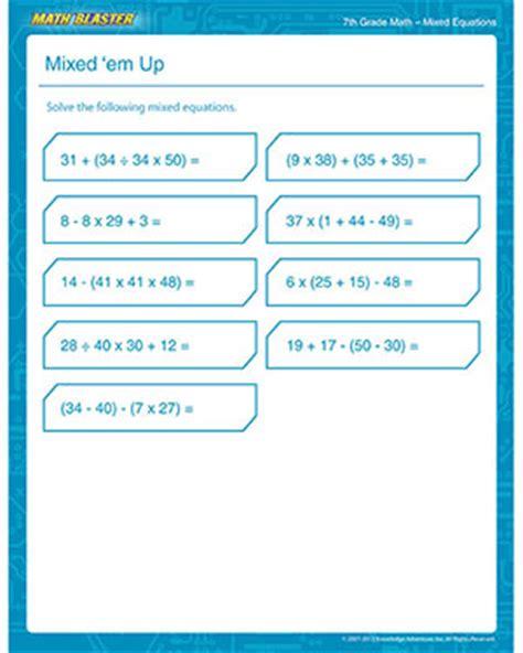 math worksheet  grade math printable mixed equation