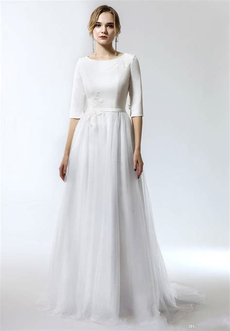 discount   simple   long modest wedding dress