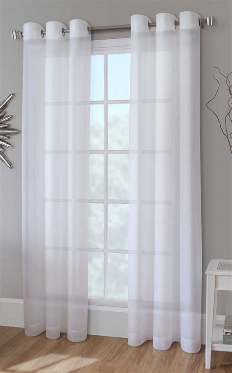 Crushed Voile Curtains White by Cranston Sheer Crushed Voile Grommet Panel Pair White