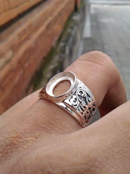 jual emban cincin perak  handmade motif ukir bunga