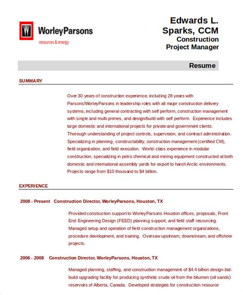 construction experience resumes project management resume example 10 free word pdf