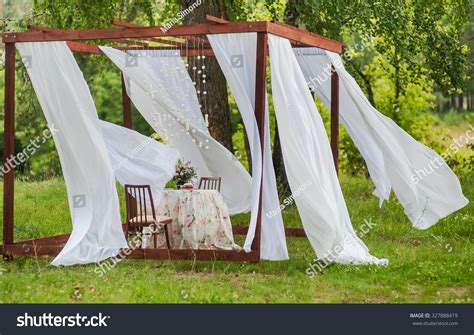 outdoor gazebo white curtains wedding decorations stock