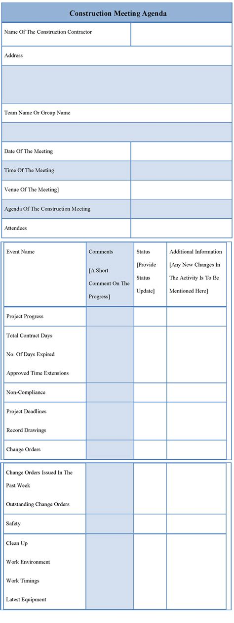 agenda template  construction meeting