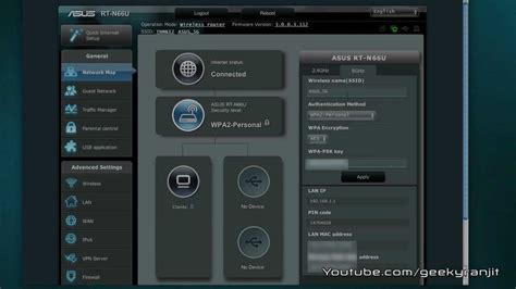 asus rt nu wifi router admin interface youtube