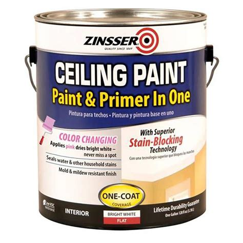 paint and primer in one shop zinsser ceiling bright white flat latex enamel interior paint and primer in one actual net