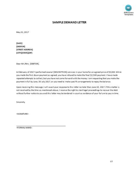 demand letter sample templates  allbusinesstemplatescom