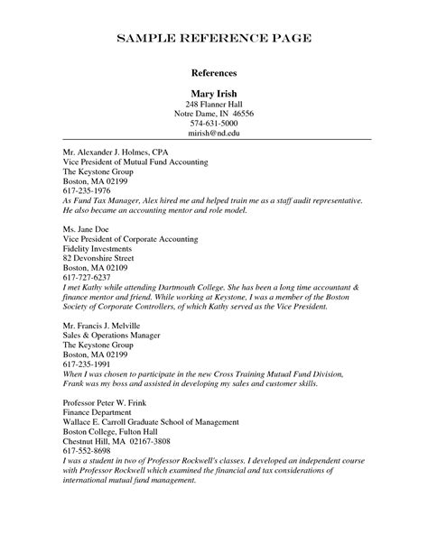 employment reference list template resume references template