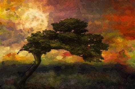nature, Landscape, Trees, Artwork, Painting, Colorful ...
