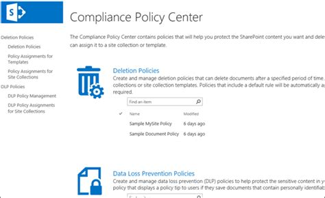 compliance policy template overview of document deletion policies in sharepoint
