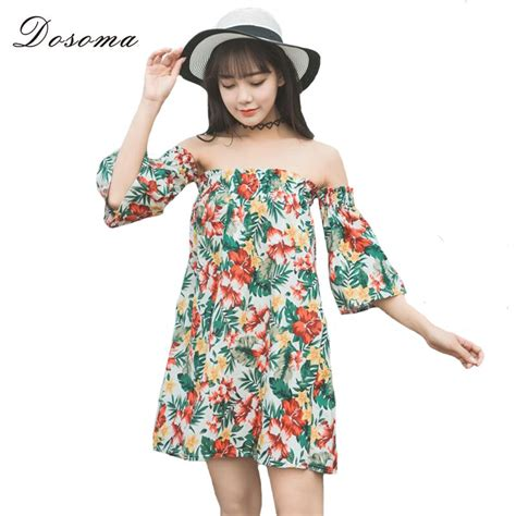 Dosoma Sex Dress Off Shoulder Half Flare Sleeve Dresses
