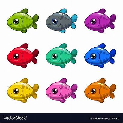 Cartoon Colorful Fishes Funny Vector Royalty