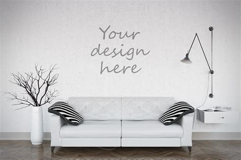 blank wall mockup living room product mockups creative