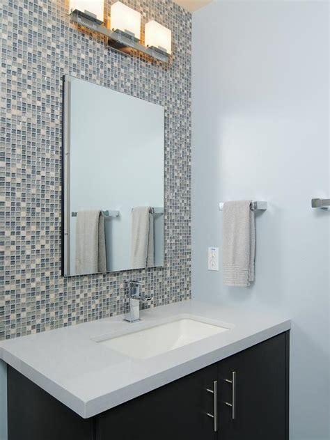 Modern Bathroom Tile Backsplash by Modern Blue Bathroom With Mosaic Tile Backsplash Hgtv