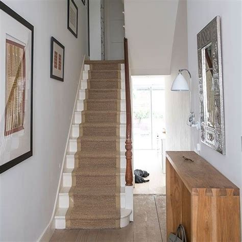 hallway with stairs decorating ideas neutral hallway with seagrass runner decorating staircases and house