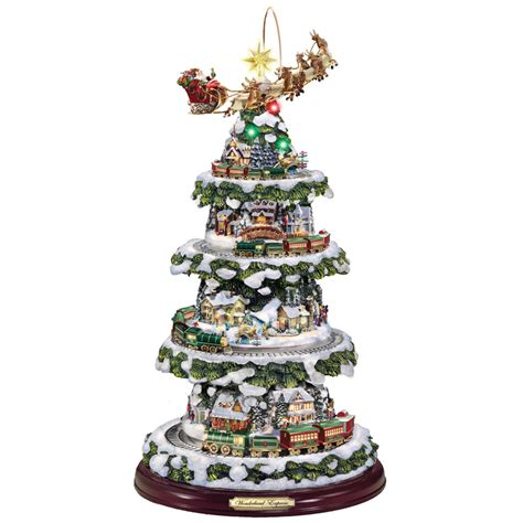 thomas kinkade animated christmas tree hammacher