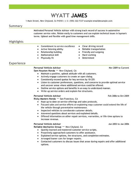 personal vehicle advisor resume exles automotive
