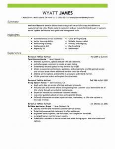 personal vehicle advisor resume examples automotive With automotive resume