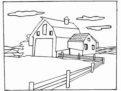 Farm Coloring Pages Scene Animal Horse Sheets