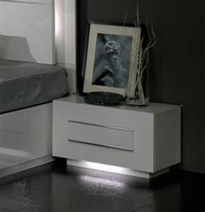 Table De Nuit Blanc Laqué : chevet 1 tiroir city laque blanc chambre coucher ~ Teatrodelosmanantiales.com Idées de Décoration