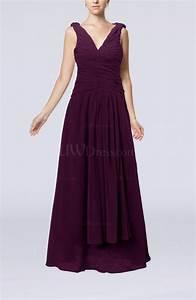 plum modest sheath v neck chiffon floor length beaded With floor length dress wedding guest