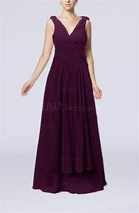 plum modest sheath v neck chiffon floor length beaded With plum dress for wedding guest