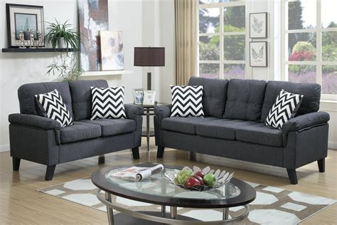 Blue Grey Sofa by Poundex Aang F6905 Blue Grey Fabric Sofa And Loveseat Set