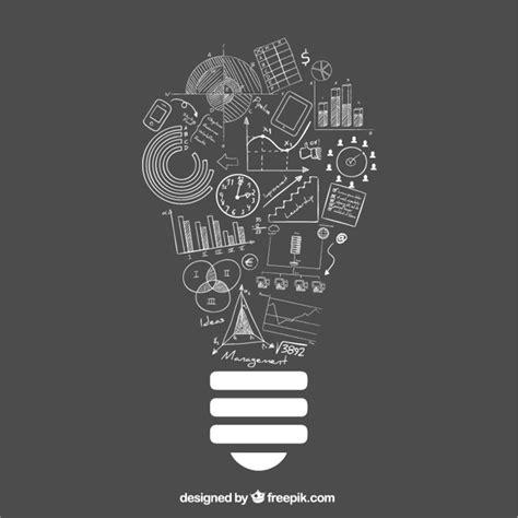 lightbulb idea  doodle business icons vector