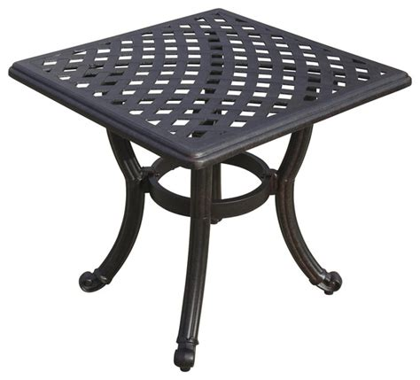 21 quot square cast aluminum patio end table contemporary