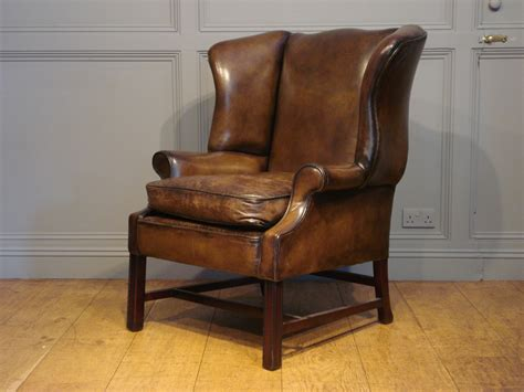 Antique Leather Wing Armchair