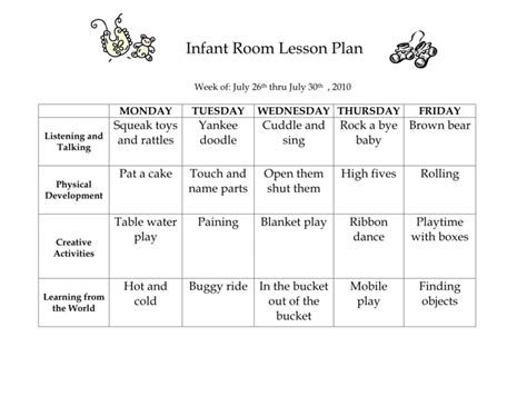 infant room lesson plan westlake childcare page